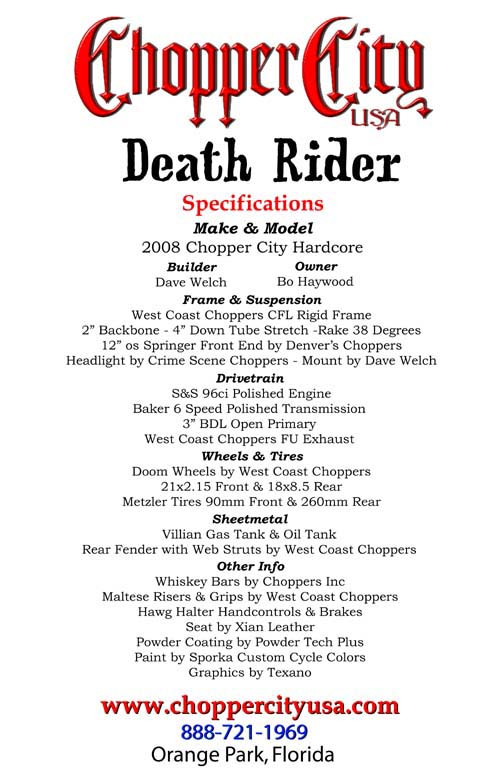Bo's West Coast Death Rider Specifications